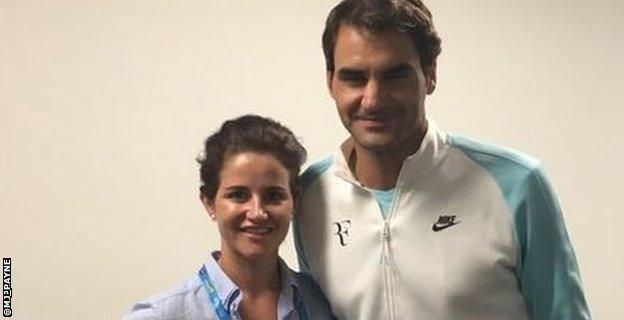 Payne with tennis star Federer