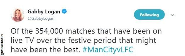 """Gabby Logan says, of the """"354,000 matches"""" on live TV this festive period, that might have been the best."""