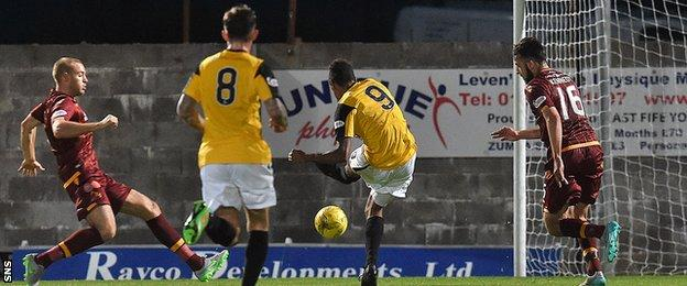 Nathan Austin scores for East Fife against Motherwell