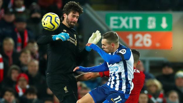 Liverpool 2-1 Brighton & Hove Albion: Leaders move 11 points clear despite Alisson red card thumbnail