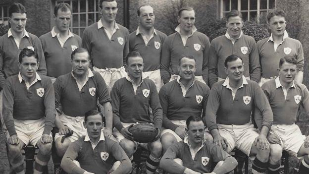 Blair Mayne (back row, third from right) lines up for Ireland against England in February 1938