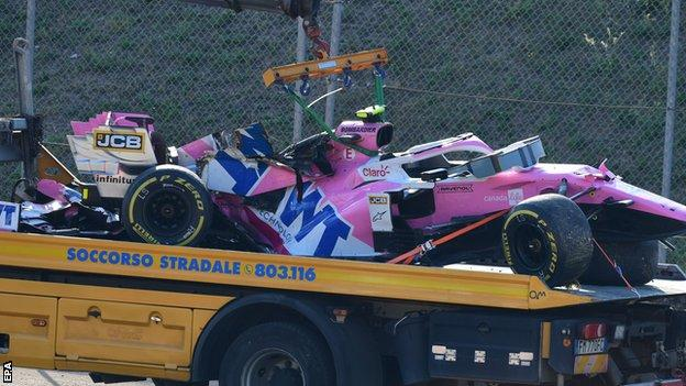 Lance Stroll's car is taken away