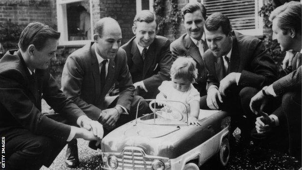 B McLaren, Stirling Moss, Tony Brooks, his father Graham Hill, Jo Bonnier and Wolfgang von Trips