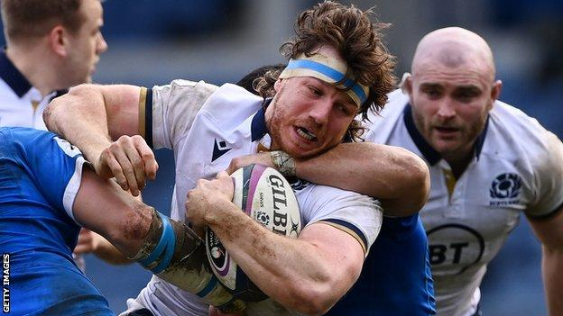 Hamish Watson in action against Italy