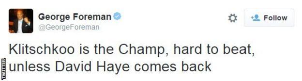 George Foreman believes Haye is capable of regaining his world title