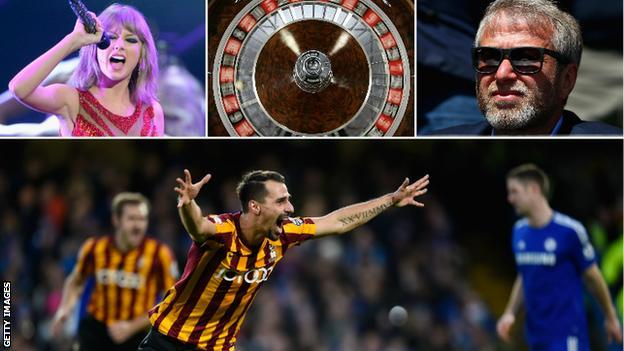 Taylor Swift, Roulette table, Roman Abramovich, Filipe Morais of Bradford City