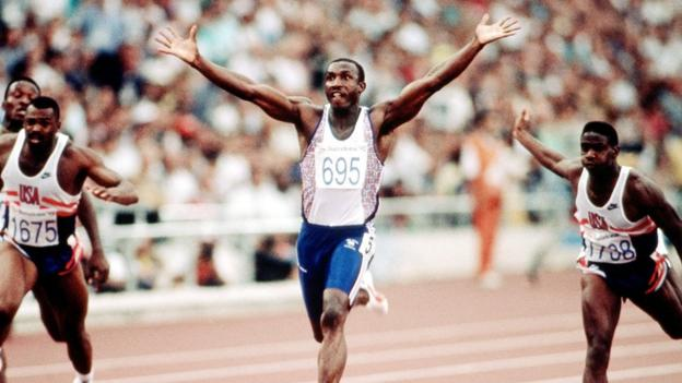 Linford Christie wins the 1992 Olympic 100m final