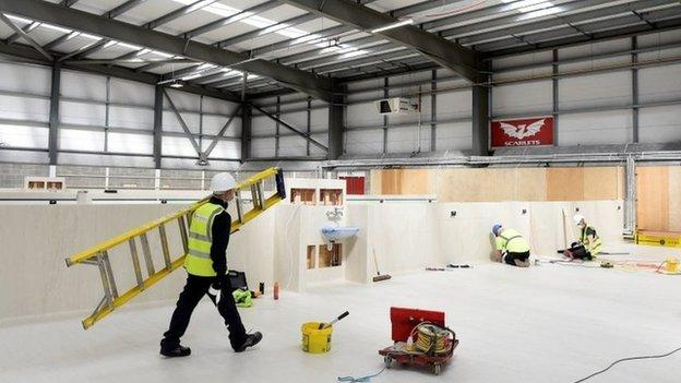 Work to create a temporary hospital at the Scarlets rugby stadium in Llanelli