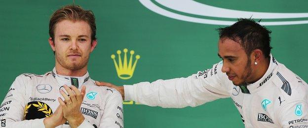 Nico Rosberg and Lewis Hamilton on the podium at the United States Grand Prix