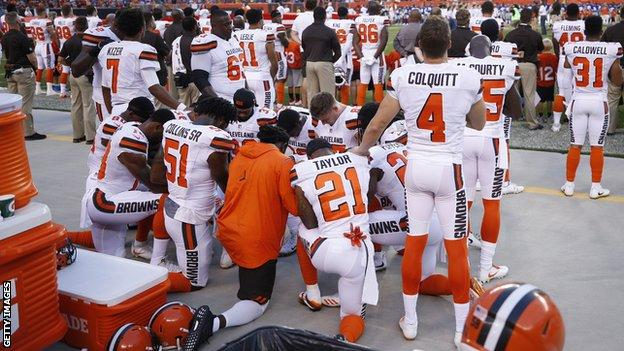 Cleveland Browns players protest
