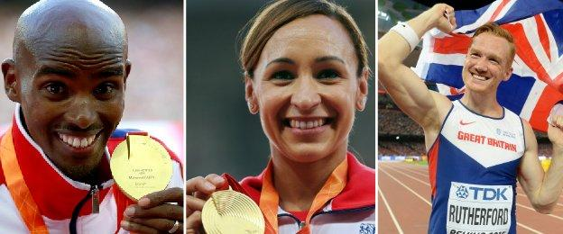 Left to right: Mo Farah, Jessica Ennis-Hill, Greg Rutherford
