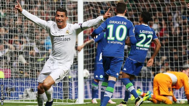Real Madrid forward Cristiano Ronaldo celebrates scoring for Real Madrid