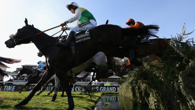 Leighton Aspell and Many Clouds on their way to winning the 2015 Grand National