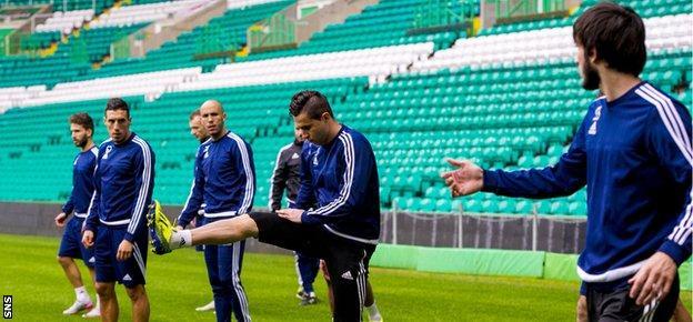 Qarabag players training at Celtic Park
