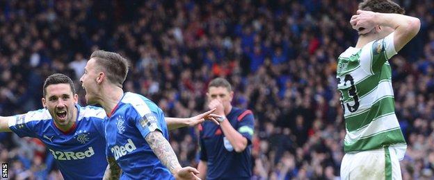 Barrie McKay celebrates scoring for Rangers against Celtic
