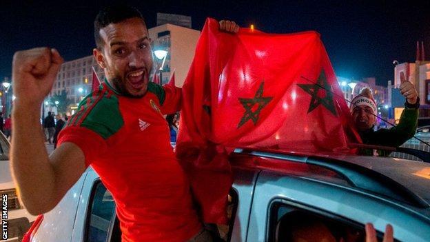 Moroccan fans celebrate