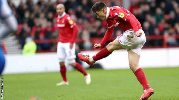 Joe Lolley scores Nottingham Forest's opening goal against Wigan