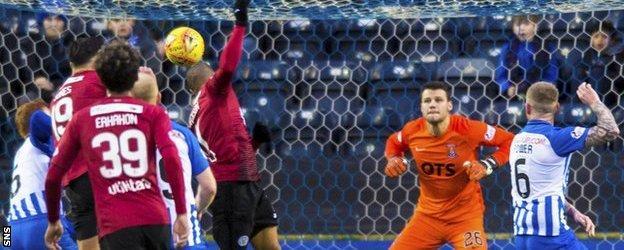 St Mirren forward Simeon Jackson scores against Kilmarnock