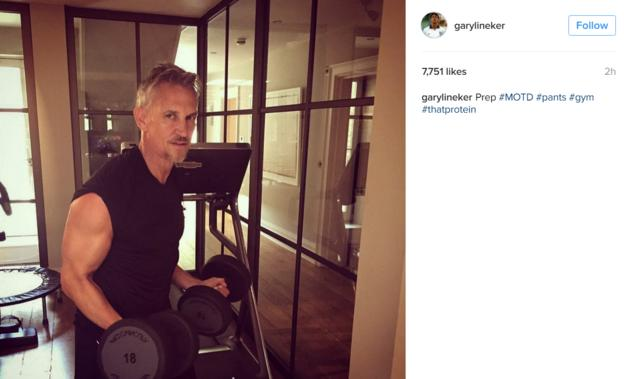 Gary Lineker doing weights in a gym