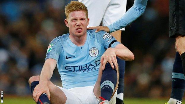 Kevin de Bruyne after being injured against Fulham on Thursday