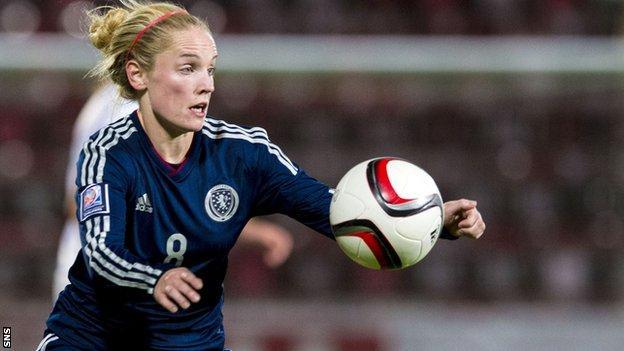 Kim Little scored a hat-trick for Scotland in Slovenia