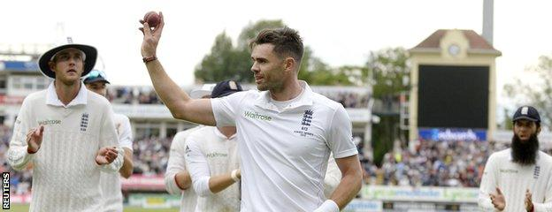 James Anderson celebrates his six-wicket haul