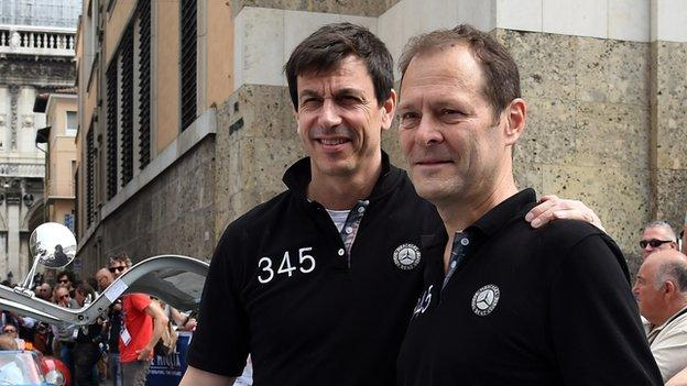 Aldo Costa (right) pictured with Mercedes F1 team boss Toto Wolff