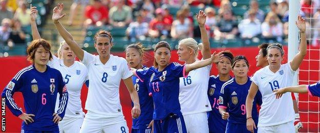 England and Japan players wait for a corner kick