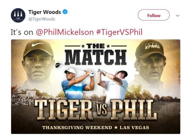 Tiger Woods announced the match on Twitter