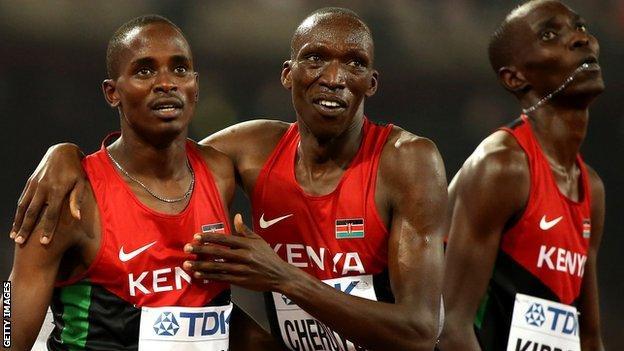 Asbel Kiprop and Elijah Motonei Manangoi of Kenya at the 2015 World Championships