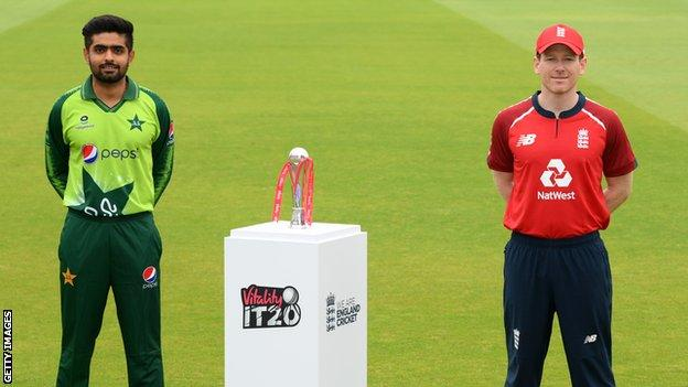 Babar Azam (left) and Eoin Morgan