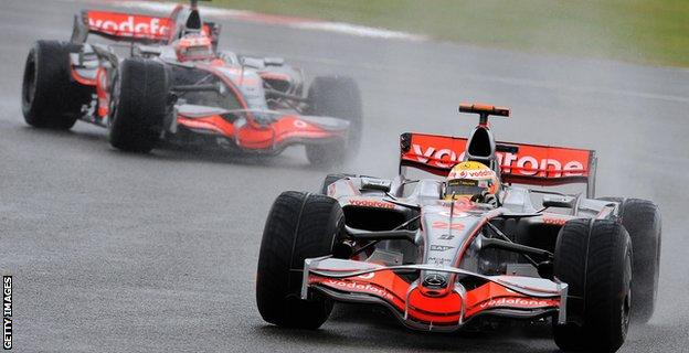 Lewis Hamilton during the 2008 British Grand Prix