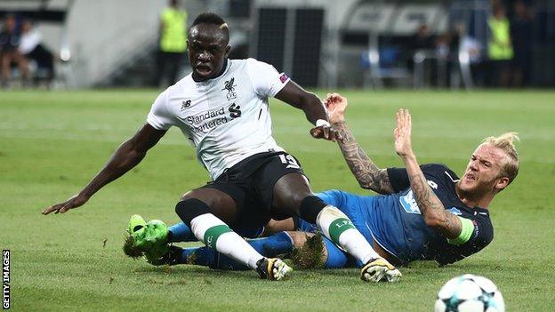 Sadio Mane is tackled