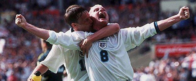 Paul Gascoigne and Teddy Sheringham celebrate