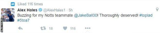 Alex Hales tweet