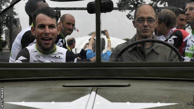 Mark Cavendish in an army vehicle at the presentation of the teams and riders for the 2016 Tour de France