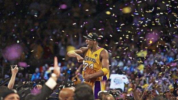Kobe Bryant celebrates his fifth NBA Championship