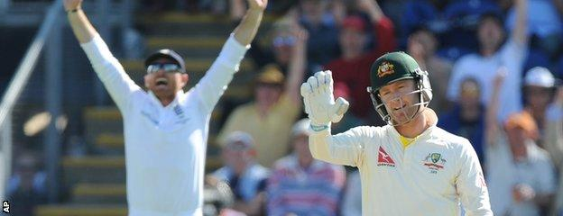 Ian Bell appeals for the wicket of Michael Clarke at slip