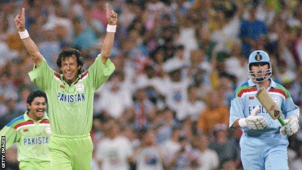 Imran Khan celebrates dismissing England's Richard Illingworth to help Pakistan win the 1992 World Cup