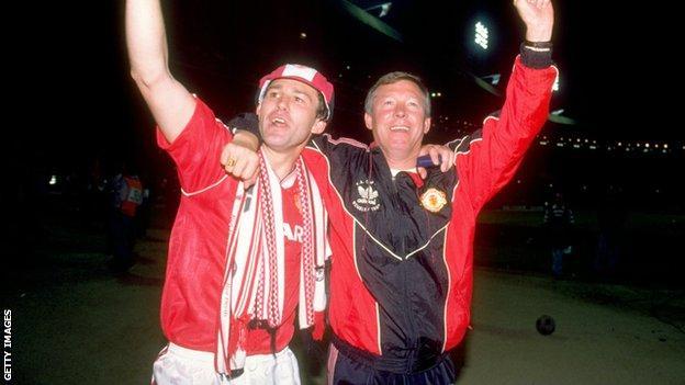 Bryan Robson (left) and Sir Alex Ferguson