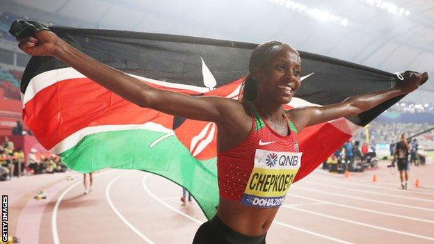 Beatrice Chepkoech celebrates winning gold in the Women's 3000 metres Steeplechase final at the 2019 World Athletics Championships