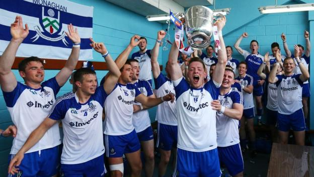 The Monaghan players celebrate in the dressing room after clinching their 16th Ulster title and their second in three years