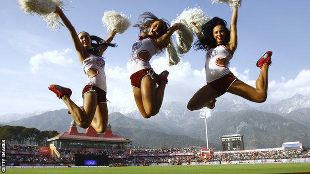 Cheerleaders dance at Dharamshala