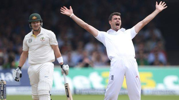 Australia all-rounder Shane Watson (left) and England bowler James Anderson