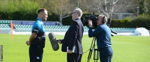 New Worcestershire captain Joe Leach was the centre of attention at the county's pre-season press day, interviewed by, among others, BBC Midlands Today's Nick Clitheroe