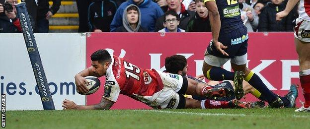 Charles Piutau scores a try for Ulster