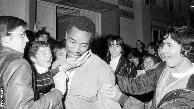 Laurie Cunningham with West Brom fans