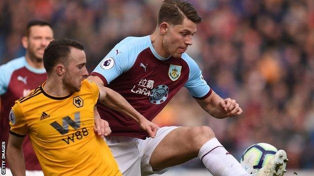 Burnley's James Tarkowski in action against Wolves