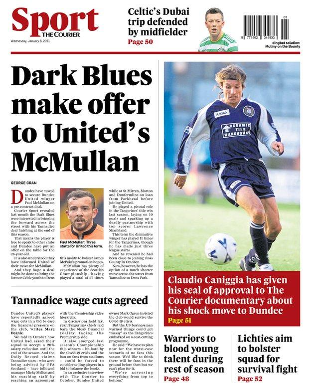 Courier back page reports Dundee have offered a contract to Dundee United's Paul McMullan