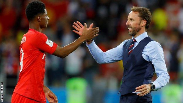 England manager Gareth Southgate and striker Marcus Rashford